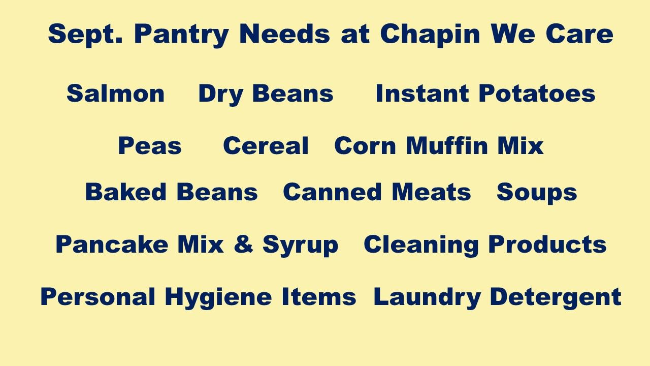 We Care Food Pantry Needs for September