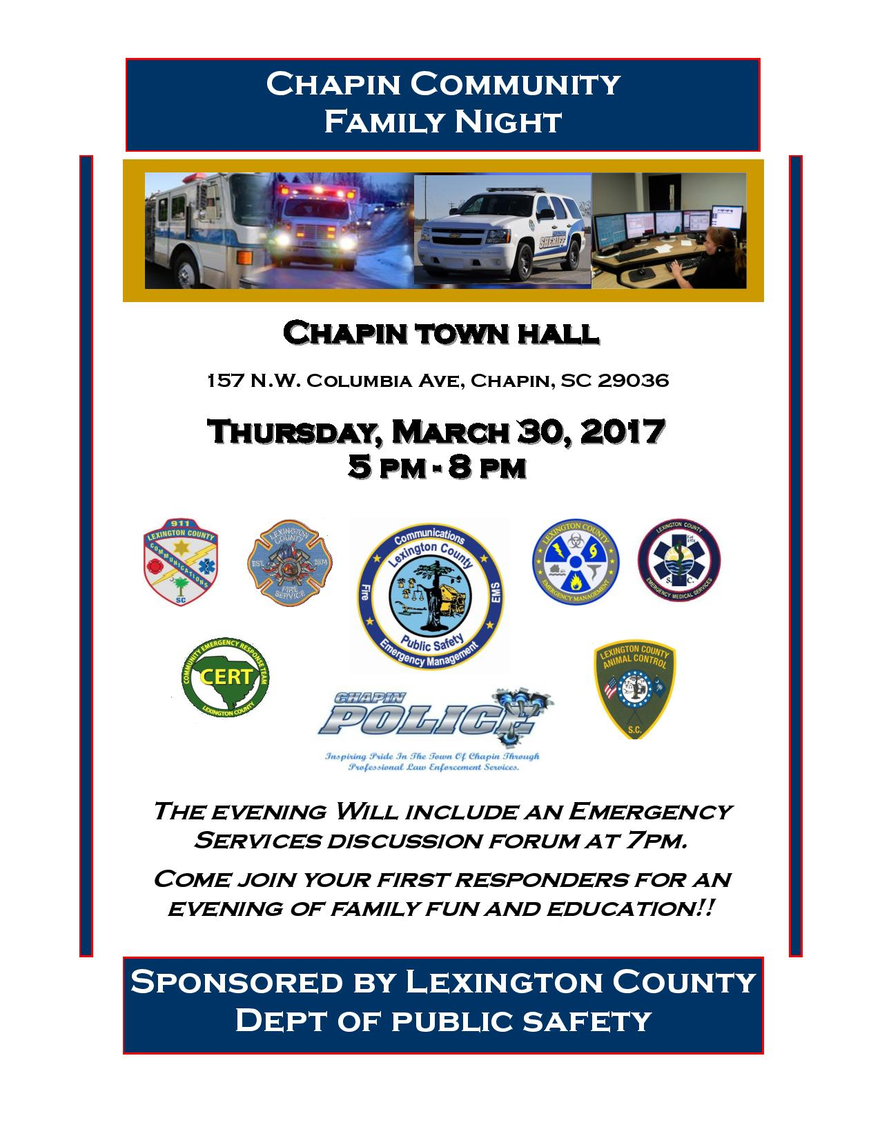 Flyer for Chapin March  Community Night 3-30-2017
