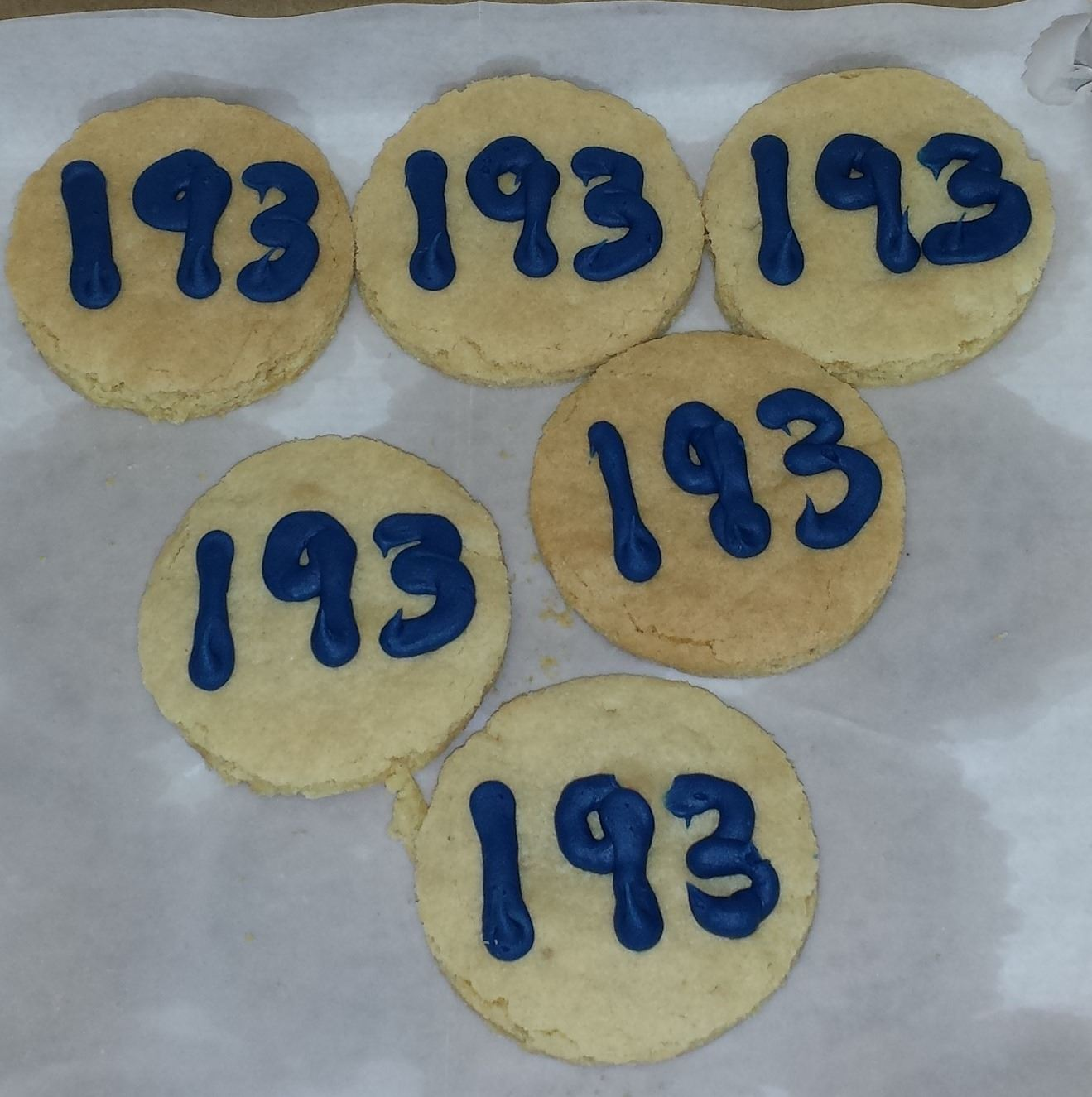 Photo of cookies with number 193 on them