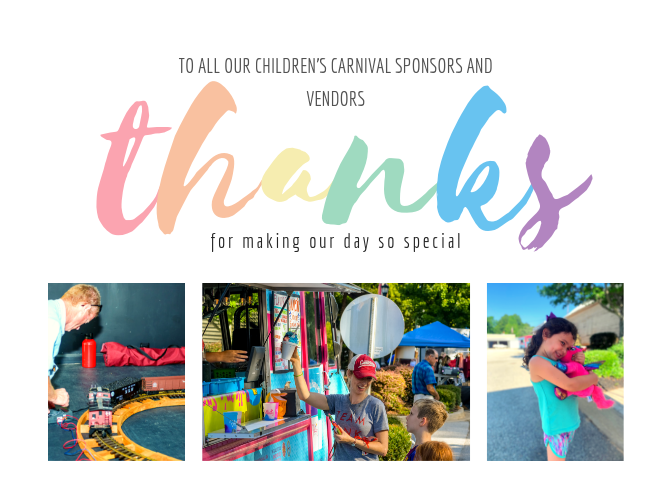 To all our childrencarnival sponsors and vendors