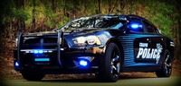 Black and blue police cruiser.